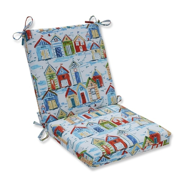 """36.5"""" Beach Resort Outdoor Patio Chair Cushion with Ties - White"""