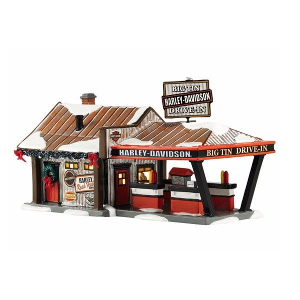 "Department 56 Snow Village ""Harley Big Tin Drive- In"" Lighted Building #4042407 - ORANGE"