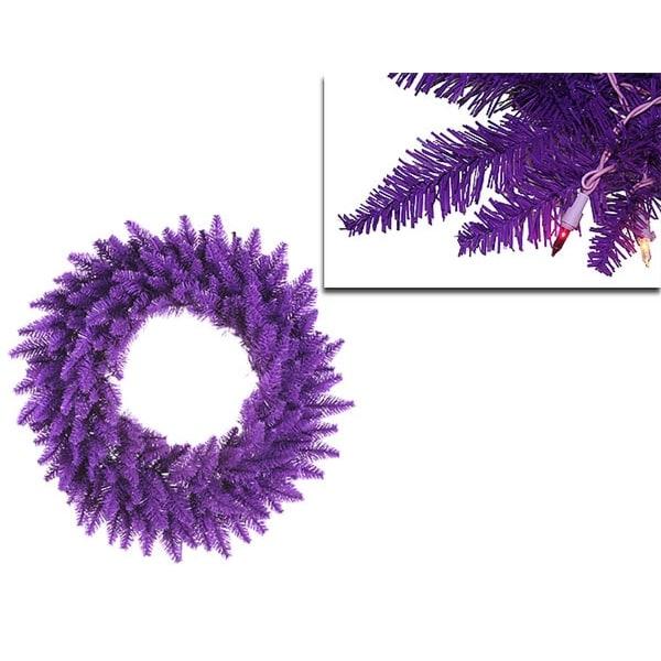 "48"" Pre-Lit Purple Ashley Spruce Christmas Wreath - Clear & Purple Lights"