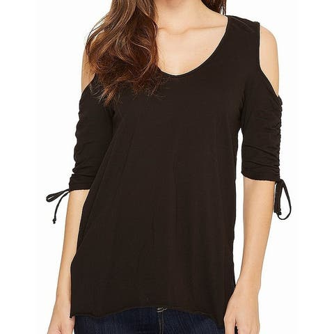 LAmade Womens Top Black Size XS Cold-Shoulder Ruched Knit V-neck