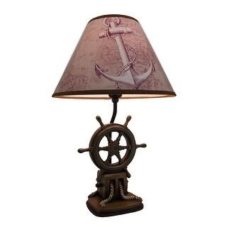 `Captain`s Destiny` Ship`s Wheel Table Lamp - Brown