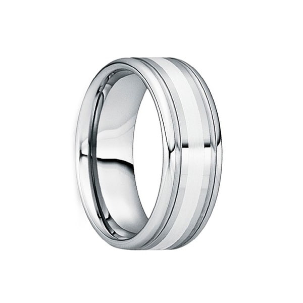 VALENS Polished Silver Inlaid Tungsten Wedding Ring with Dual Grooves by Crown Ring - 6mm