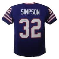 OJ Simpson Autographed Buffalo Bills Custom Size XL Blue Jersey HOF JSA