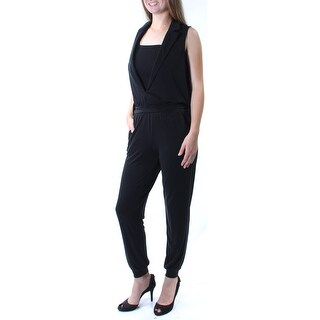 Womens Black Square Neck Sleeveless Jumpsuit Size S