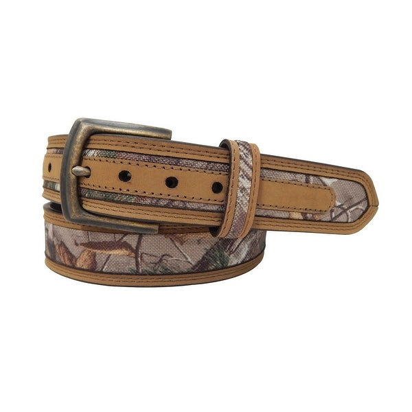 Realtree Western Belt Mens Canvas Genuine Leather Brass