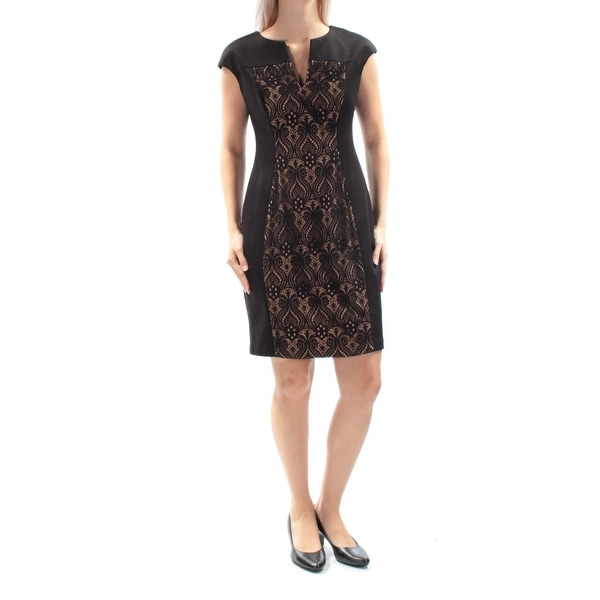 CONNECTED Womens Black Lace Cap Sleeve V Neck Sheath Evening Dress Petites Size: 7