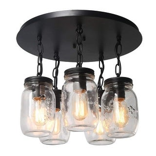 5 light glass mason jar flush mount black ceiling fixture