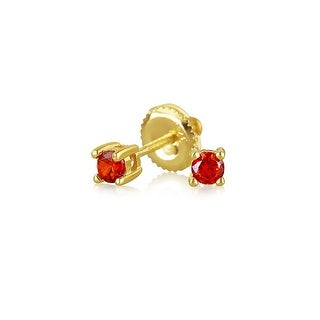 Bling Jewelry Gold Plated Silver Red CZ Kids Screwback Studs