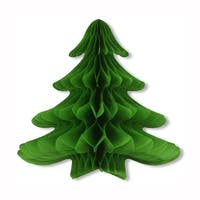 Pack of 6 Green Honeycomb Tissue Hanging Christmas Tree Party Decorations 25""