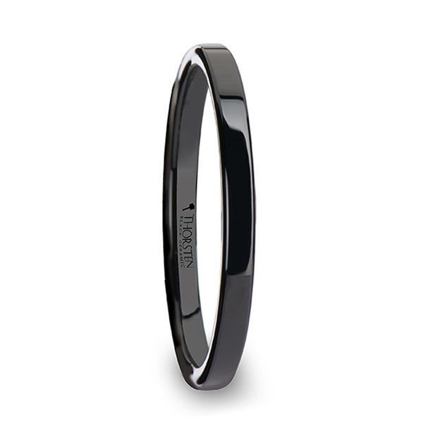 THORSTEN - FAITH Black Flat Shaped Ceramic Wedding Ring for Her - 2 mm