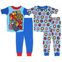 Marvel Boys' Superhero 4-Piece Cotton Pajama Set