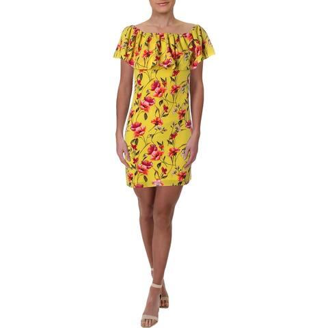 Lauren Ralph Lauren Womens Petites Party Dress Floral Off-The-Shoulder