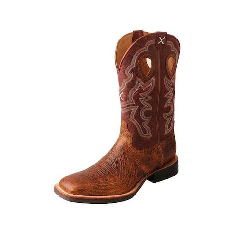 """Twisted X Western Boots Mens 12"""" Ruff Stock Peanut"""