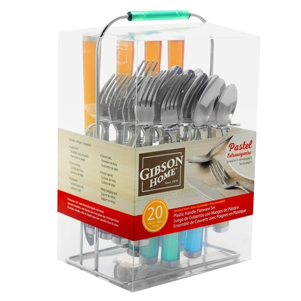 Gibson Home Pastel Extravaganza 20 Piece Stainless Steel Flatware Set with Hanging Rack in Assorted Colors. Opens flyout.