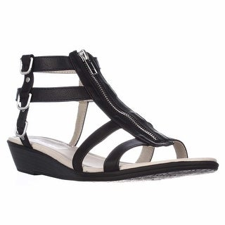 Rialto Gracia Front Zip Gladiator Sandals - Black/Burn, 8.5 M US
