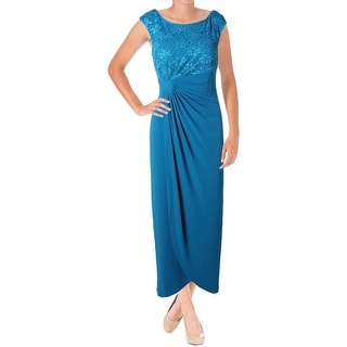 Connected Apparel Womens Evening Dress Lace Inset Sequined - 10
