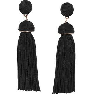 Humble Chic Silky Soiree Tassels - Long Thread Fringe Dangle Statement Drop Earrings