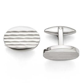 Chisel Stainless Steel Polished and Matte Oval Cuff Links