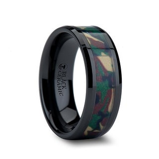 RANGER Beveled Black Ceramic Wedding Ring with Real Military Style Jungle Camo