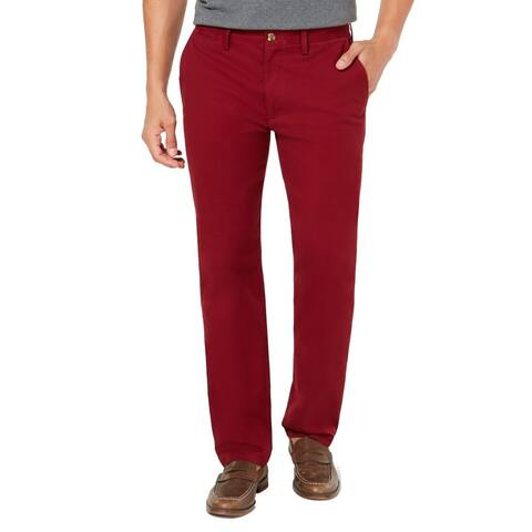 Club Room Men Chino Pants Carriage Red 38x30 Classic Straight Flat-Front