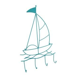 Cool Blue Metal Sailboat Nautical Style Wall Hook