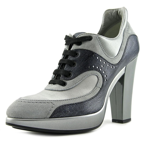 Hogan Sneaker Tacco 90 Women  Open Toe Leather Gray Platform Heel