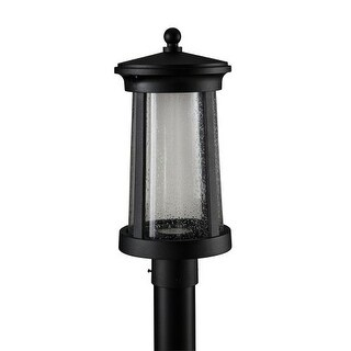 "Park Harbor PHEL3103LED Woodberry 17"" Tall Single Light LED Outdoor Post Light with Seeded Glass Shade"
