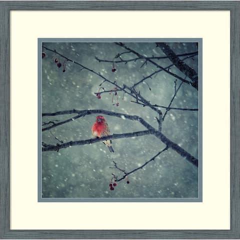 Framed Wall Art Print Snowing by Yu Cheng 18x18-inch