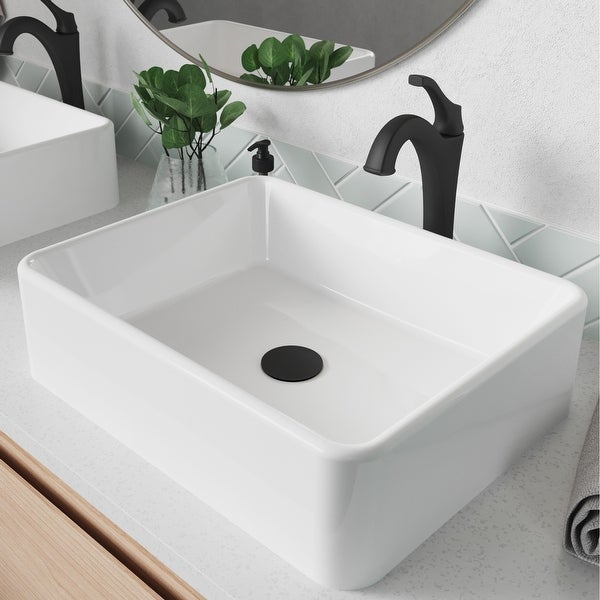 Kraus 3-in-1 Set White Rectangle Ceramic Sink, Arlo Faucet w/Drain. Opens flyout.