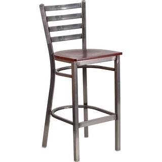 "Dyersburg 29"" High Metal Barstool Clear Coat Ladder Back, Mahogany Wood Seat"