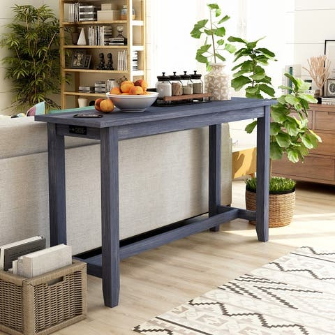 Furniture of America Ibella Contemporary Counter Table with USB Port