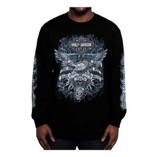 Harley-Davidson Men's Gauntlet Eagle Long Sleeve Crew Neck Shirt, Black