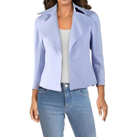 Anne Klein Womens Blazer Wide Collar Open Front - Blue