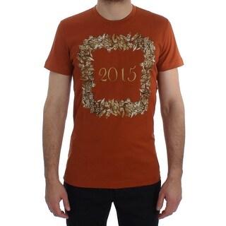 Dolce & Gabbana Dolce & Gabbana Crewneck 2015 Motive Print Orange Cotton T-shirt