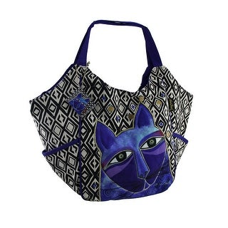 Laurel Burch Whiskered Cats Blue Scoop Tote Bag