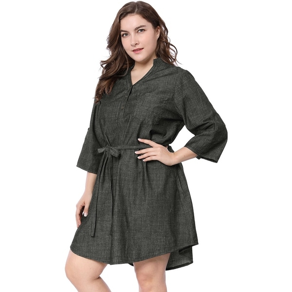 Allegra K Women Plus Size Roll Up Sleeves Above Knee Belted Denim Dress