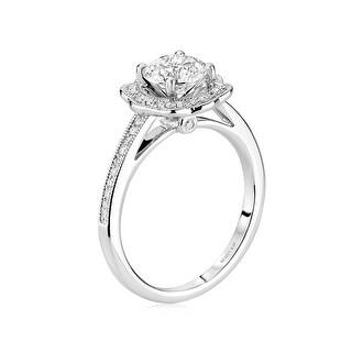 14kt White Gold Oval Semi Mount Ladies Flower Shape Diamonds Engagement Ring by Scott Kay