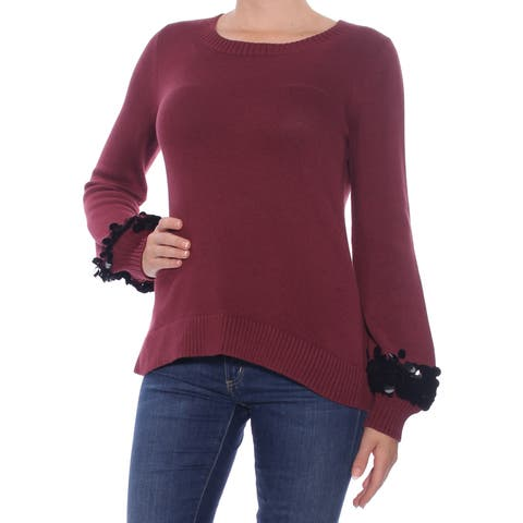 MICHAEL KORS Womens Maroon Sequined Cuff Long Sleeve Jewel Neck Sweater Size: S