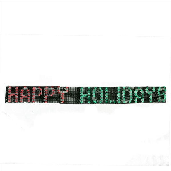 "60"" x 6"" Happy Holidays LED Lighted Christmas Banner Outdoor Decoration - Red and Green Lights"