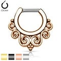 Tribal Swirls IP 316L Surgical Steel Septum Clicker (Sold Ind.) - Thumbnail 0