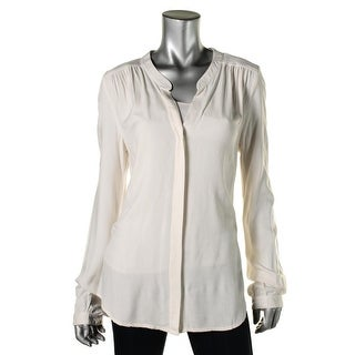 Three Dots Womens Gathered V-Neck Button-Down Top