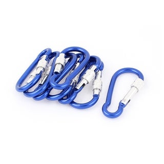 Unique Bargains Camping Spring Clip Carabiner Hook Keychain Karabiner Pouch Carrier Blue 8pcs