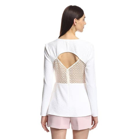 Cooper & Ella Women's Textured Open Back Blouse White XS