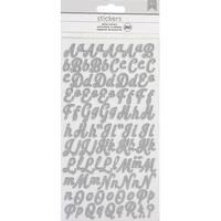 American Crafts Glitter Alphabet Stickers 265/Pkg-Silver/Small Script