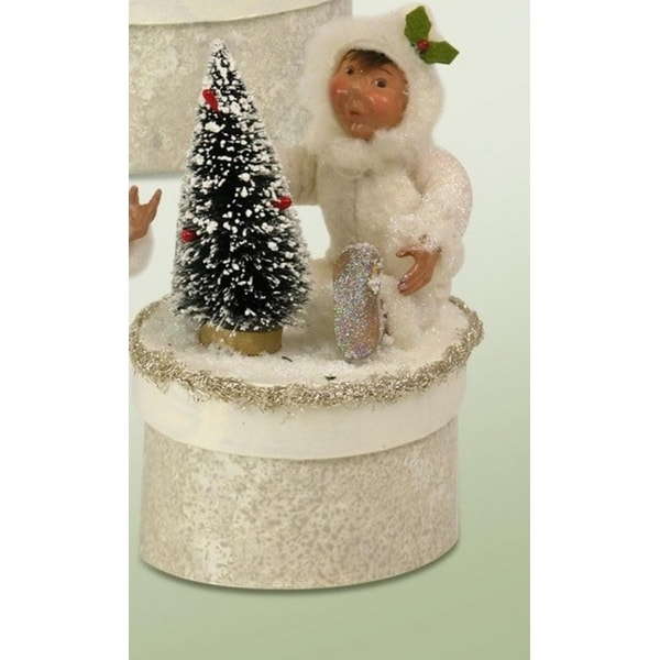 "6.5"" White Glittered Yule Box with Toddler and Frosted Christmas Tree"