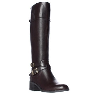 Franco Sarto Lapis Knee High Ankle Strap Boots - Oxford Brown