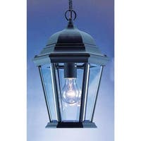 """Volume Lighting V8222 1-Light Outdoor 14.5"""" Height Pendant with Clear Beveled Glass Lantern Shade - Black - n/a"""
