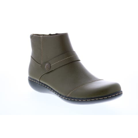 Clarks Ashland Pine Olive Leather Womens Casual Dress Boots
