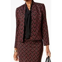 Kasper Red Chevron Sangria Womens Size 16 Open-Front Blazer Jacket