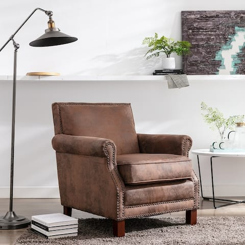 Traditional Upholstered Club Chair with Nailhead Trim, Antique Brown